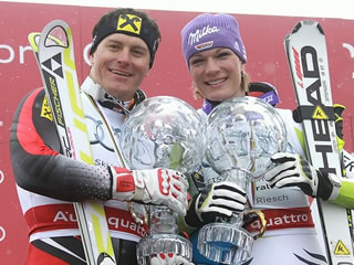 © Gerwig Löffelholz - Ivica Kostelic und Maria Höfl-Riesch - Die Gesamtweltcupsieger der Saison 2010/11