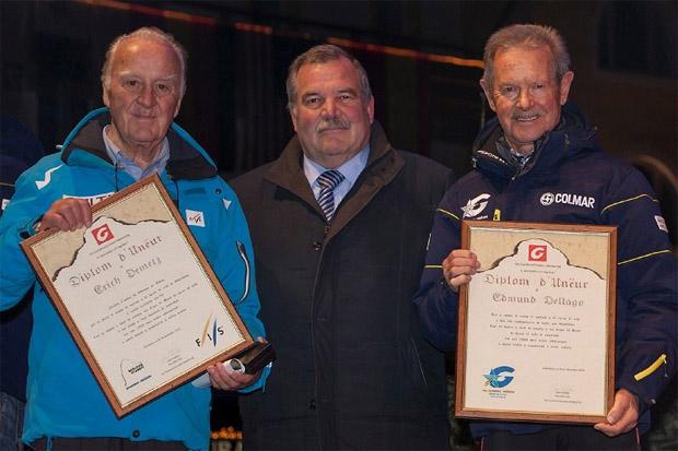 © saslong.org / Die beiden Grödner Skisport-Pioniere Erich Demetz und Edmund Dellago