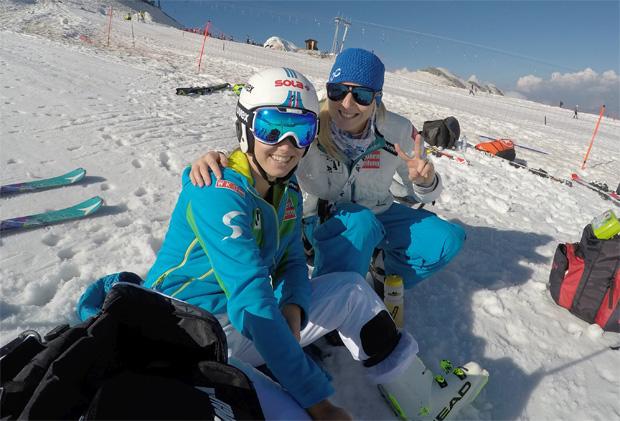 Christine Scheyer mit der Physiotherapeutin der Europacup Damen Nadja Eiche (Foto: Christine Scheyer)