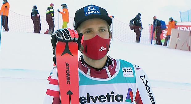 Marko Schwarz in Adelboden, nach seinem ersten Sieg in einem Ski Weltcup Slalom