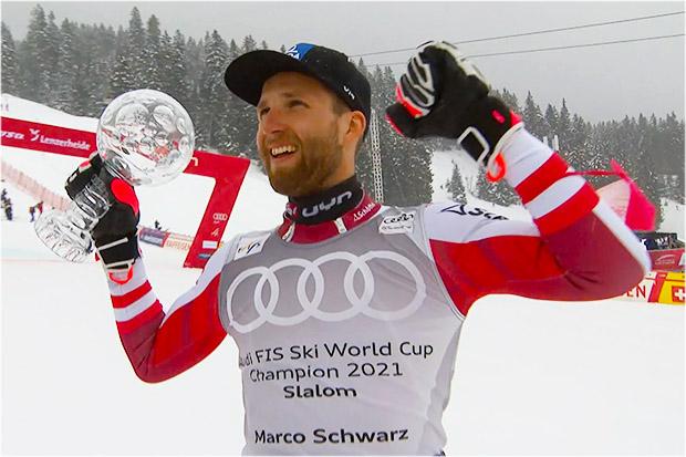 Marco Schwarz gewinnt die Slalom-Kristallkugel in der Saison 2021/22