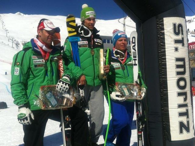 © swiss-ski.ch  /  Sandro Viletta holt sich den zweiten Schweizermeistertitel in zwei Tagen, Silber gibt's für Didier Défago, Bronze geht an Ralph Weber.