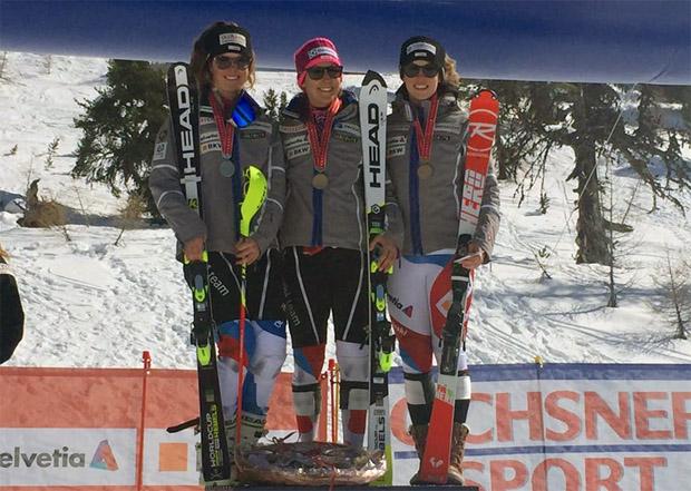 Wendy Holdener ist Schweizer Meisterin im Slalom: v.l.r.: Aline Danioth, Wendy Holdener, Michelle Gisin (Foto: Facebook /Wendy Holdener Fanclub)