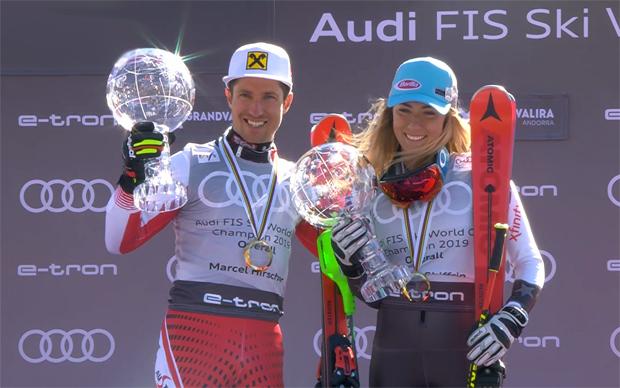 Die Gesamt-Weltcupsieger der Saion 2018/19: Marcel Hirscher und Mikaela Shiffrin