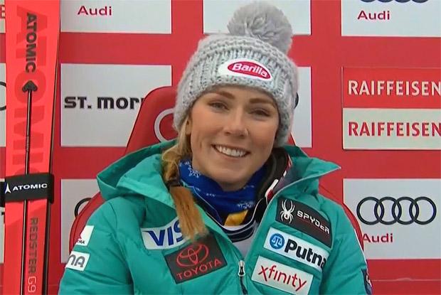 Mikaela Shiffrin hat die Halbzeit-Kombiführung in St. Moritz inne
