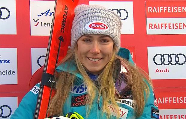 Mikaela Shiffrin liegt beim Slalom in Lenzerheide nach dem 1. Durchgang in Führung