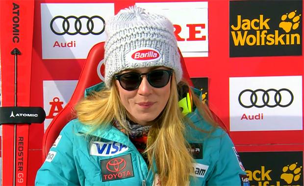 Mikaela Shiffrin mit Zwischenbestzeit beim Slalom von Are