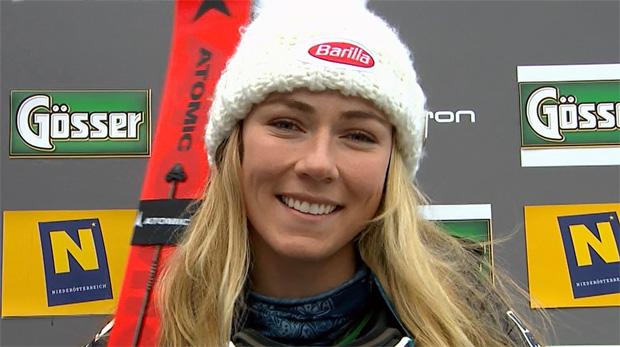 Mikaela Shiffrin mit minimalen Zeitvorsprung nach dem 1. Riesenslalom-Durchgang am Semmering