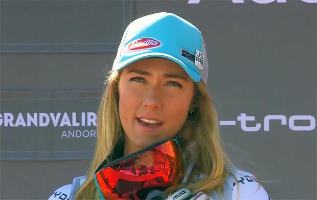 Die Gesamt- und Slalom-Weltcupsiegerin Mikaela Shiffrin freut sich auf den letzten Slalom der Saison 2018/19