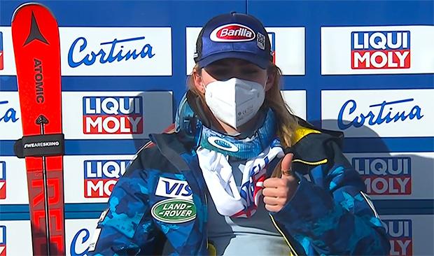Mikaela Shiffrin liegt beim WM-Riesenslalom in Cortina d'Ampezzo nach dem 1. Durchgang in Führung