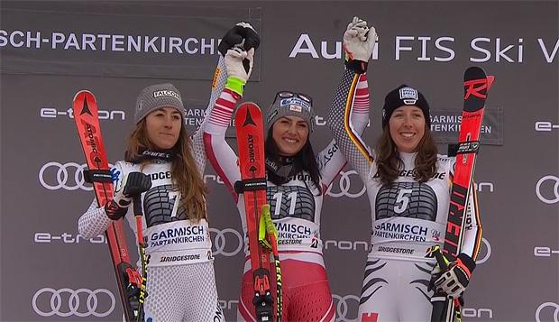 Stephanie Venier feierte bei der Abfahrt in Garmisch-Partenkirchen ihren ersten Weltcupsieg