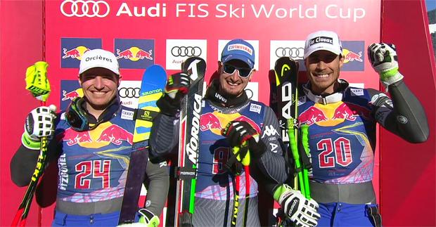 Die schnellsten Drei der Abfahrt: (v.l.) Valentin Girard Moine (FRA), Dominik Paris (ITA) und Johan Clarey (FRA)
