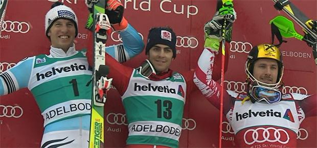 Podest Slalom 2015 Wengen: Fritz Dopfer, Stefano Gross, Marcel Hirscher