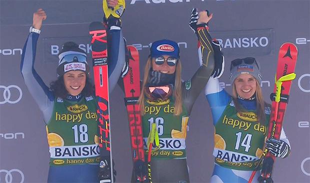 Der Sieg bei der 1. Abfahrt in Bansko, geht an die Amerikanerin Mikaela Shiffirn, vor Federica Brignone (ITA) und Joana Hählen (SUI).