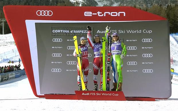 Das Podium der zweiten Cortina-Abfahrt: Siebenhofer vor Schmidhofer (li.) und Stuhec.