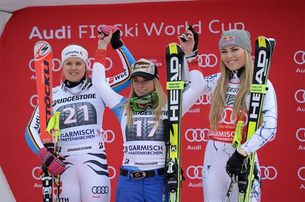 © Ch. Einecke (CEPIX) / Super-G Podest in Garmisch 2016 / Viktoria Rebensburg, Lara Gut und Lindsey Vonn