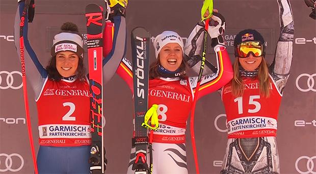 Das Abfahrtspodest von Garmisch 2020: Federica Brignone, Viktoria Rebensburg und Ester Ledecka.
