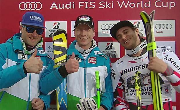 Nach dem ÖSV Dreifach-Sieg in Saalbach gibt es heute gleich den nächsten Dreifach-Triumph. Diesmal durch Hannes Reichelt, Romed Baumann und Matthias Mayer.