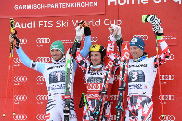 © Ch. Einecke (CEPIX) / Riesenslalom in Garmisch Partenkirchen: Siegerbild 2015 - Neureuther, Hirscher, Raich