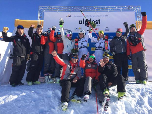 Das ÖSV hat bei der Junioren-WM in Davos allen Grund zum Feiern. (Bild: ÖSV / Christian Gerber)
