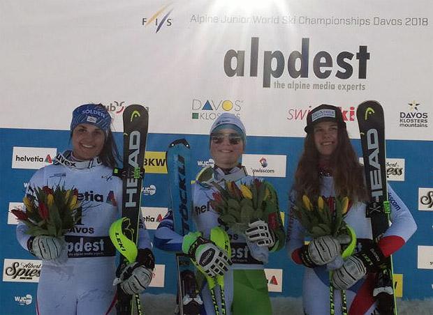 Slalom Junioren WM 2018: Franziska Gritsch, Meta Hrovat und Aline Danioth (Bild: ÖSV / Christian Gerber)