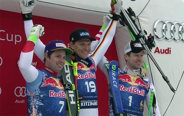 Beat Feuz, Thomas Dreßen und Hannes Reichelt auf dem Siegerpodest in Kitzbühel