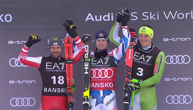 Das Podium von Bansko: Marcel Hirscher wird 2., Sieger Alexis Pinturault und 3. Stefan Hadalin