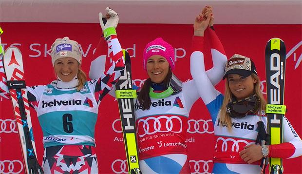 Alpine Kombination in Lenzerheide: Michaela Kirchgasser, Wendy Holdener und Lara Gut