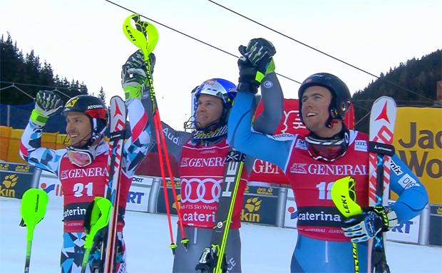 Das Siegerbild der Kombination in Santa Caterina: (v.l.) Marcel Hirscher (AUT), Alexis Pinturault (FRA) und Aleksander Aamodt Kilde (NOR).