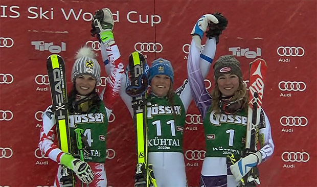Anna Fenninger, Sara Hector, Mikaela Shiffrin