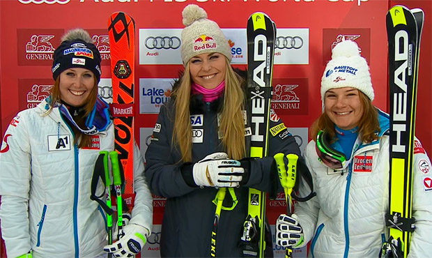 Cornelia Hütter, Lindsey Vonn und Ramona Siebenhofer