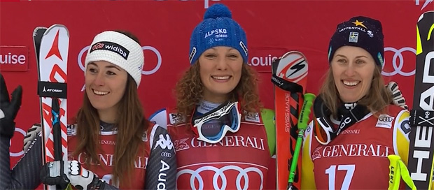 Sofia Goggia, Ilka Stuhec und Kajsa Kling
