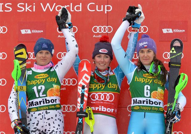 Fotocredit: Fischer Sports/GEPA: Sarka Strachova hat am Sonntag beim Weltcupslalom in Maribor ihren Erfolgslauf prolongiert und mit Rang drei erneut einen Podiumsplatz eingefahren.
