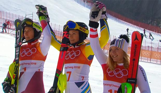 Wendy Holdener, Slalom Olympiasiegerin Frida Hansdotter und Katharina Gallhuber