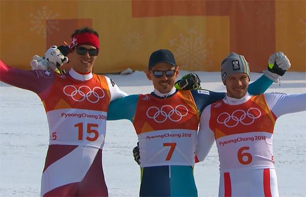 Das Duell Hirscher gegen Kristoffersen geht an Andre Myhrer (Ramon Zehnhäusern, Slalom-Olympiasieger Andre Myhrer und Michael Matt)