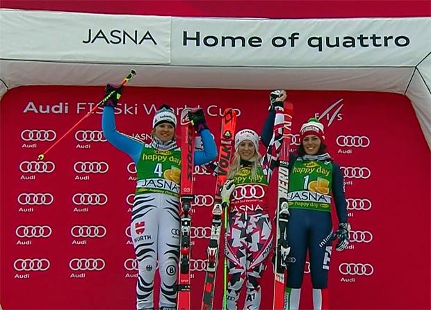 Viktoria Rebensburg, Eva-Maria Brem und Federica Brignone
