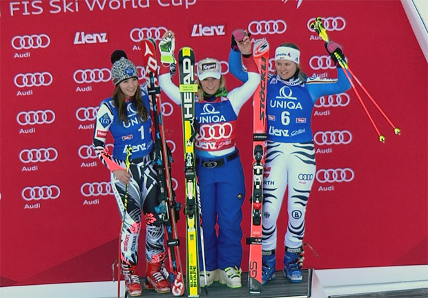 Das Podest beim Riesenslalom der Damen in Lienz: Tina Weirather, Lara Gut, Viktoria Rebensburg