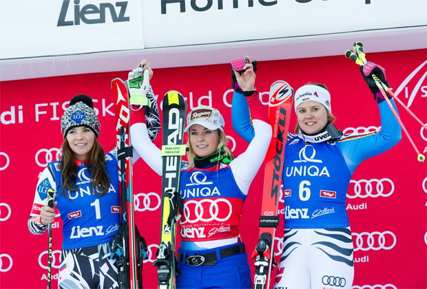 Podium: Lara Gut vor Tina Weirather und Viktoria Rebensburg (Fotos/Copyright: Expa Pictures/Michael Gruber)