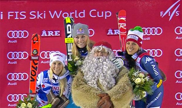 Eva-Maria Brem, Lindsey Vonn und Federica Brignone