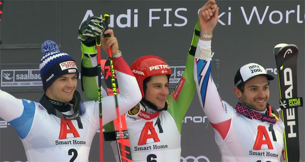 Der Saalbach-RTL endete mit dem ersten Sieg für den Slowenen Zan Kranjec und dem ersten Podestplatz für den Schweizer Loic Meillard (li.). Dritter wurde der Franzose Matthieu Faivre.
