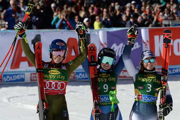 Mikaela Shiffrin, Alice Robinson und Tessa Worley (Foto: © Ch. Einecke (CEPIX)