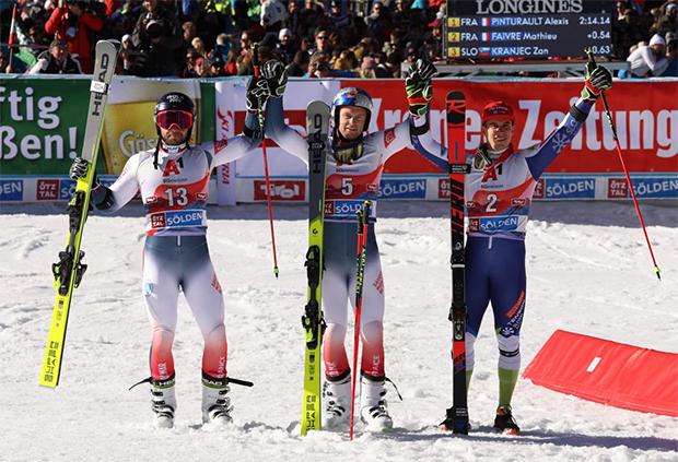 Mathieu Faivre, Alexis Pinturault und Zan Kranjec (© Claudia Egger / Skiweltcup.TV)