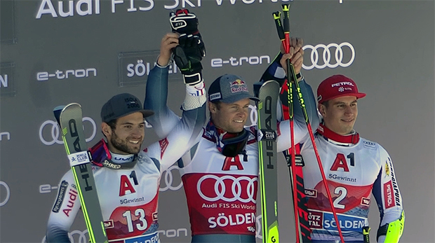 Alexis Pinturault aus Frankreich gewinnt vor seinem Landsmann Mathieu Faivre und dem Slowenen Zan Kranjec.