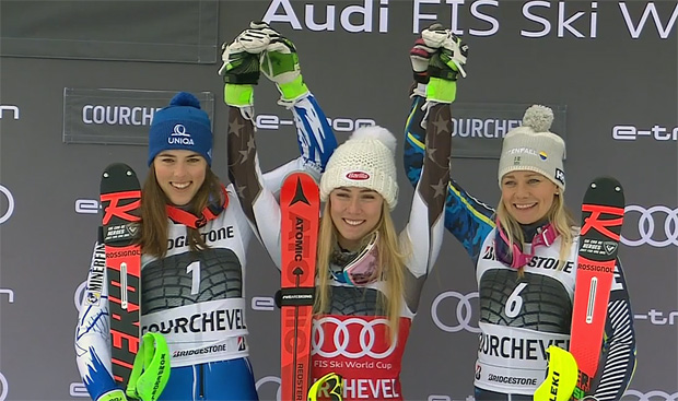 Petra Vlhova (SVK), Mikaela Shiffrin (USA) und Frida Hansdotter (SWE)