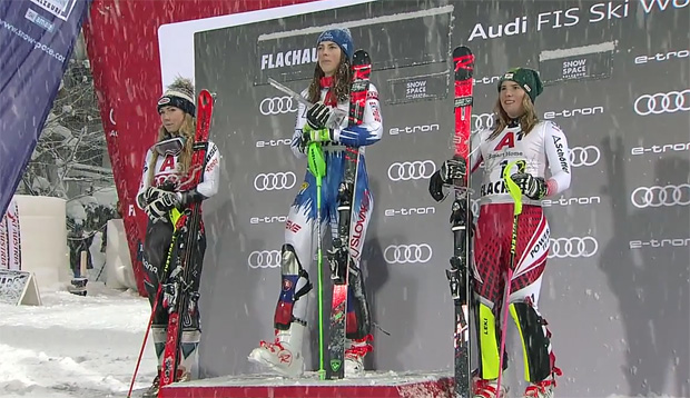 Flachau 2019: Mikaela Shiffrin, Petra Vlhova und Katharina Liensberger
