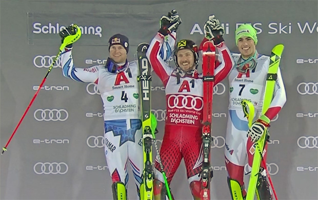 Marcel Hirscher siegte vor dem Franzosen Alexis Pinturault und dem Schweizer Daniel Yule.