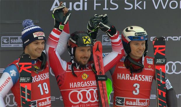 Marcel Hirscher setzte sich im Slalom vor Loic Meillard (SUI) und Henrik Kristoffersen (NOR) durch.