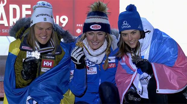 Das Slalom-WM-Siegerpodium: Anna Swen-Larsson (SWE), Mikaela Shiffrin (USA) und Petra Vlhova (SVK)