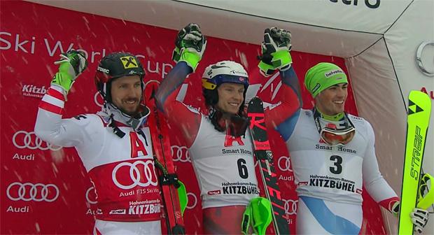 Marcel Hirscher, Henrik Kristoffersen und Daniel Yule