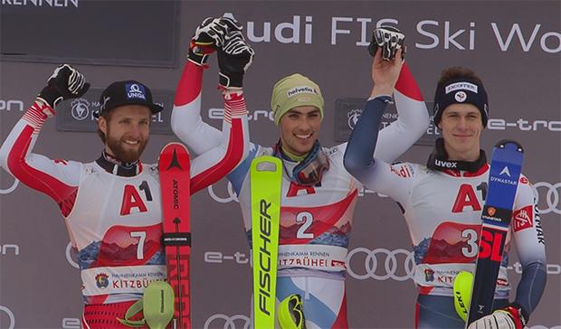 Das Hahnenkamm-Slalom-Podest: Marco Schwarz, Daniel Yule und Clement Noel